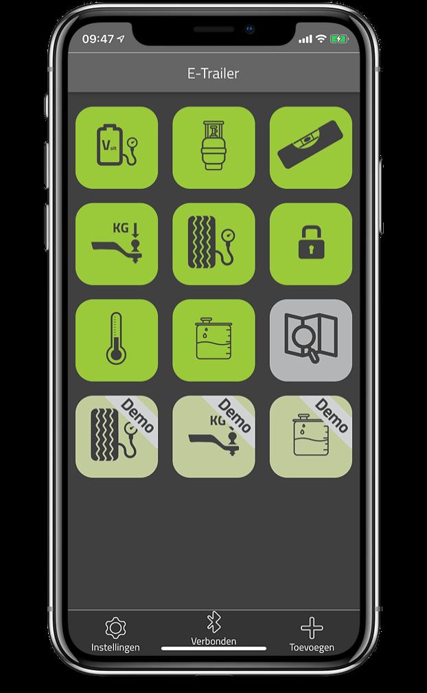 E-Trailer app menu